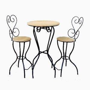 Vintage Gartenhocker & Tisch, 3er Set