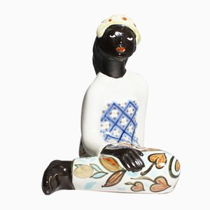 Ceramic African Woman Figurine by Mari Simmulson for Upsala Ekeby, Sweden, 1950s