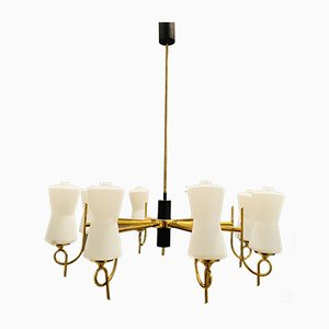 Large Brass Chandelier with Opaline Glass Shades from Stilnovo, 1950s
