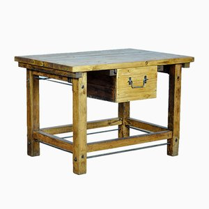 Industrial Wooden Worktable, 1950s