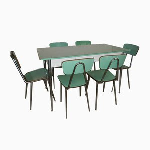 Italian Formica Dining Table & Chairs Set, 1970s, Set of 7