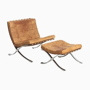 Mid-Century Barcelona Chair & Stool by Ludwig Mies van der Rohe for Knoll Inc. / Knoll International, Set of 2
