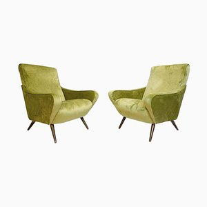 Italian Armchairs with New Green Velvet Upholstery, 1960s, Set of 2