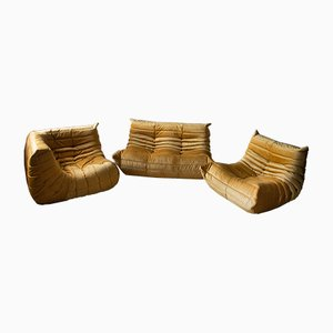Goldenrod Velvet Togo Lounge Chairs and 2-Seater Sofa Set by Michel Ducaroy for Ligne Roset, 1970s