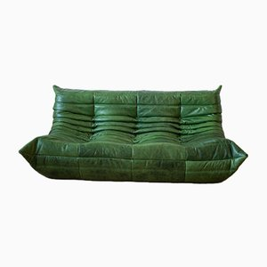 Vintage Green Leather 3-Seater Togo Sofa by Michel Ducaroy for Ligne Roset