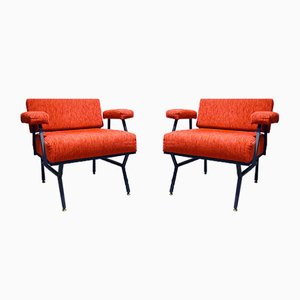 Mid-Century Corduroy Lounge Chairs, 1950s, Set of 2