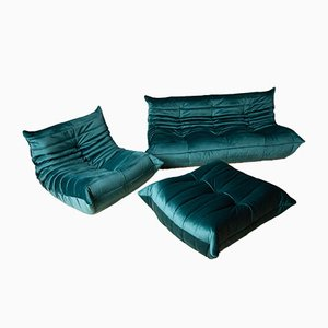Vintage Green Velvet Togo Living Room Set by Michel Ducaroy for Ligne Roset, 1970s