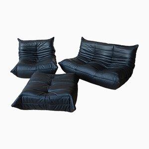 Vintage Togo Set aus schwarzem Leder von Michel Ducaroy für Ligne Roset, 3er Set