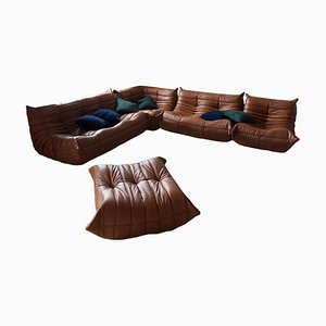 Vintage Brown Togo Living Room Set by Michel Ducaroy for Ligne Roset, 1979