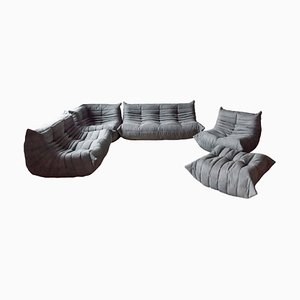 Vintage Grey Togo Living Room Set by Michel Ducaroy for Ligne Roset, 1979