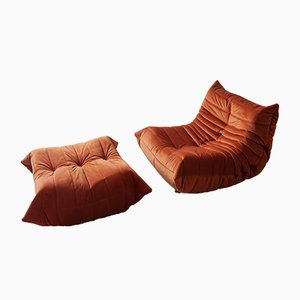 Vintage Orange Velvet Togo Lounge Chair and Ottoman Set by Michel Ducaroy for Ligne Roset, 1970s
