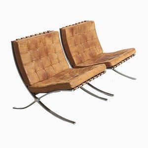 Fauteuils Barcelona Mid-Century par Ludwig Mies van der Rohe pour Knoll Inc. / Knoll International, Set de 2
