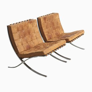Mid-Century Barcelona Lounge Chairs by Ludwig Mies van der Rohe for Knoll Inc. / Knoll International, Set of 2
