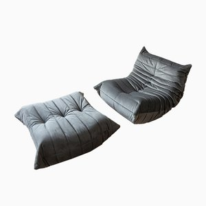 Vintage Grey Velvet Togo Lounge Chair and Ottoman Set by Michel Ducaroy for Ligne Roset, 1970s