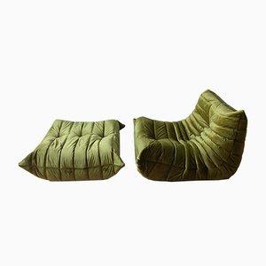 Juego de sillón y otomana Togo vintage de terciopelo verde oliva de Michel Ducaroy para Ligne Roset, años 70