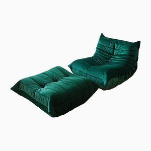 Vintage Bottle Green Velvet Togo Lounge Chair and Ottoman Set by Michel Ducaroy for Ligne Roset, 1970s