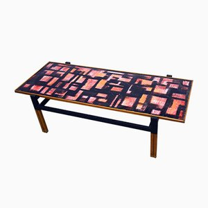 Mid-Century Italian Tubular Coffee Table in Enameled Copper & Wood, 1950s