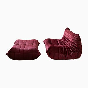 Vintage Burgundy Velvet Togo Lounge Chair and Ottoman Set by Michel Ducaroy for Ligne Roset, 1970s