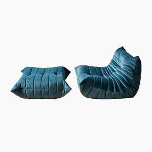 Vintage Teal Velvet Togo Lounge Chair and Ottoman Set by Michel Ducaroy for Ligne Roset, 1970s