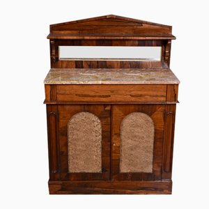 Antique Regency Rosewood Marble Top Chiffonier Side Cabinet