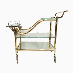 Vintage Hollywood Regency Brass & Glass Trolley with Elephant Heads, 1970s