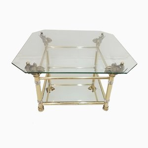 Vintage Hollywood Regency Brass & Glass Coffee Table with Elephant Heads, 1970s