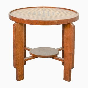 Art Deco Style Amsterdam School Solid Wood Chess Side Table, 1950s