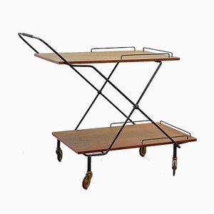 Scandinavian Minimalist Foldable and Mobile Teak Tea Trolley on Black Steel Frame, 1950s