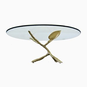 Gilded Bronze Sculptural Tree Coffee Table, 1980s