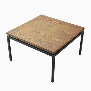 Dutch Minimalist Coffee Table with Steel Frame & Wengé Wood Floating Top from Stiemsma, 1950s