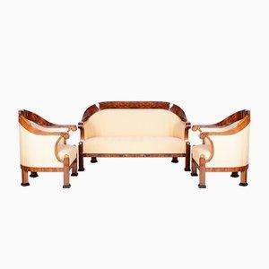 Early-19th Century Austrian Empire Walnut Inlaid Living Room Set, Set of 3