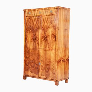 19th Century Czech Biedermeier Walnut 1-Door Wardrobe Cabinet, 1830s