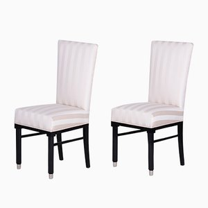 French Art Deco Black Lacquer Dining Chairs, 1920s, Set of 2