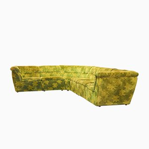 Gold-Green Velvet Dots Modular Lounge Sectional Sofa Set from Laauser, 1970s, Set of 6