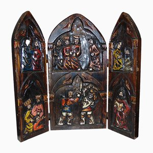 Mid-Century Art Deco Wooden Carved Triptych