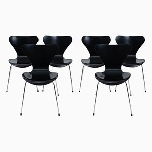 Chaises de Salon Series 3107 par Arne Jacobsen pour Fritz Hansen, 1990s, Set de 8