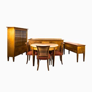 Dining Room Set by Bruno Paul for VEB Deutsche Werkstätten Hellerau, 1920s, Set of 10