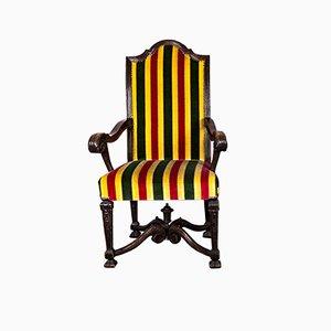 Französischer oder Englischer geschnitzter Armlehnstuhl, 19. Jh