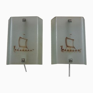 Etched Raw Glass Sconces with Viking Ship Motif, Set of 2