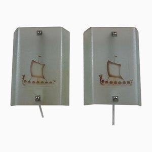 Wandlampen aus Geätztem Rohglas mit Wikinger Schiffsmotiv, 2er Set