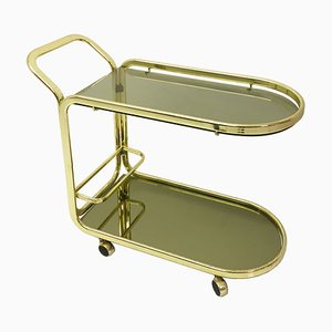 Brass Drinks Bar Cart with Mirrored Glass from Morex, 1970s