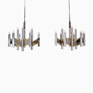 Chevron Brass & Chrome Chandeliers by Gaetano Sciolari for Sciolari, 1970s, Set of 2