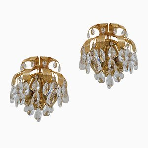 Crystal & Brass Pineapple Sconces from Palwa, 1960s, Set of 2