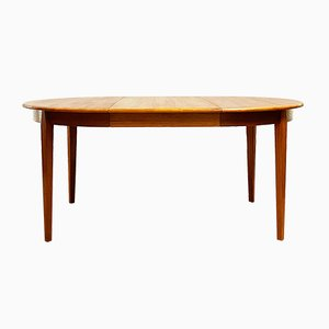 Mid-Century Modern Teak Round Extendable Dining Table, 1960s