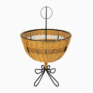 Rattan Basket on Black Metal Stand, 1950s