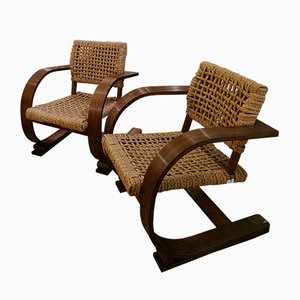 Mid-Century Lounge Chairs by Adrien Audoux & Frida Minet, Set of 2