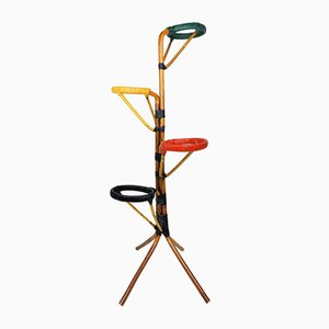 Rattan and Scoubidou Plant Stand, 1960s