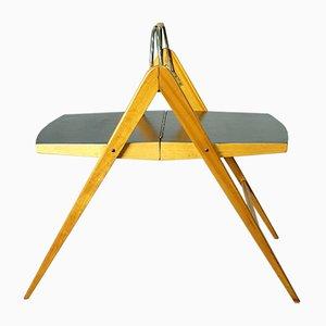Tavolino Mid-Century pieghevole a forma di compasso, anni '50
