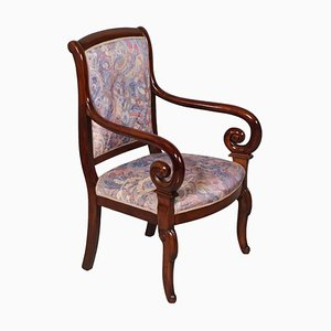 Empire-Style Carved Solid Mahogany Chair with Armrests, Late 19th Century