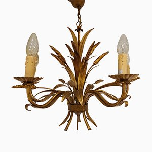 Italian Gilt Metal Sheaf of Wheat Chandelier, 1960s